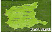 Physical Panoramic Map of Lubuskie, darken