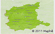 Physical Panoramic Map of Lubuskie, lighten