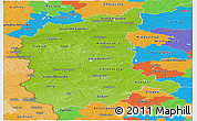 Physical Panoramic Map of Lubuskie, political outside