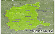 Physical Panoramic Map of Lubuskie, semi-desaturated