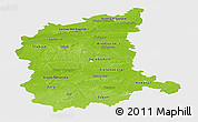 Physical Panoramic Map of Lubuskie, single color outside