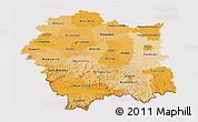 Political Shades 3D Map of Malopolske, cropped outside