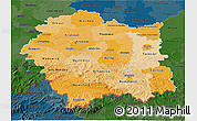 Political Shades 3D Map of Malopolske, darken