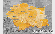 Political Shades 3D Map of Malopolske, desaturated