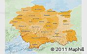 Political Shades 3D Map of Malopolske, lighten