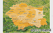 Political Shades 3D Map of Malopolske, satellite outside