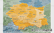 Political Shades 3D Map of Malopolske, semi-desaturated