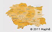 Political Shades 3D Map of Malopolske, single color outside