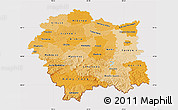Political Shades Map of Malopolske, cropped outside