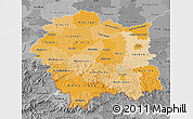 Political Shades Map of Malopolske, desaturated
