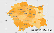 Political Shades Simple Map of Malopolske, single color outside