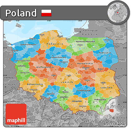 Free Political Map Of Poland Desaturated Land Only - Poland political map