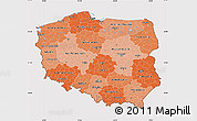 Political Shades Map of Poland, cropped outside