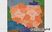 Political Shades Map of Poland, darken