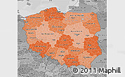 Political Shades Map of Poland, desaturated