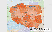 Political Shades Map of Poland, lighten