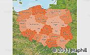 Political Shades Map of Poland, satellite outside, bathymetry sea