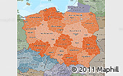 Political Shades Map of Poland, semi-desaturated, land only