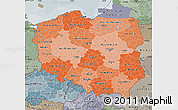 Political Shades Map of Poland, semi-desaturated