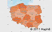 Political Shades Map of Poland, single color outside