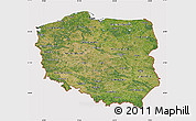 Satellite Map of Poland, cropped outside