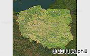 Satellite Map of Poland, darken