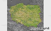 Satellite Map of Poland, desaturated