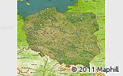 Satellite Map of Poland, physical outside, satellite sea