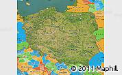 Satellite Map of Poland, political outside, satellite sea