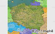 Satellite Map of Poland, political shades outside, satellite sea