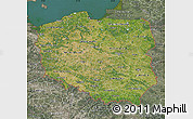 Satellite Map of Poland, semi-desaturated, land only