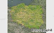Satellite Map of Poland, semi-desaturated