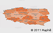 Political Shades Panoramic Map of Poland, cropped outside