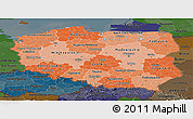 Political Shades Panoramic Map of Poland, darken