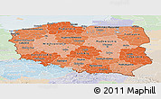 Political Shades Panoramic Map of Poland, lighten