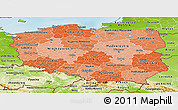Political Shades Panoramic Map of Poland, physical outside