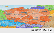 Political Shades Panoramic Map of Poland