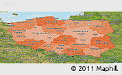 Political Shades Panoramic Map of Poland, satellite outside, bathymetry sea