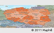 Political Shades Panoramic Map of Poland, semi-desaturated, land only