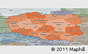 Political Shades Panoramic Map of Poland, semi-desaturated