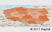 Political Shades Panoramic Map of Poland, shaded relief outside, bathymetry sea