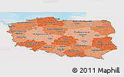 Political Shades Panoramic Map of Poland, single color outside