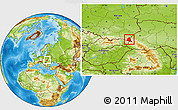 Physical Location Map of Ustrzyki Dolne