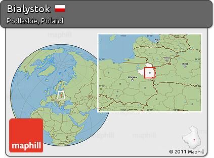 Free Savanna Style Location Map of Bialystok highlighted parent region