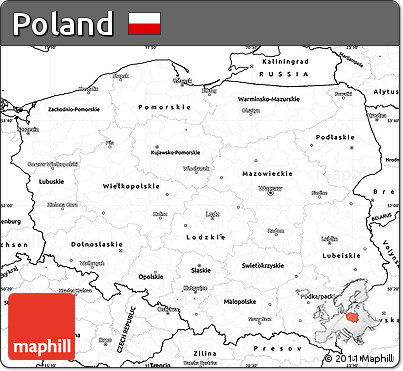 image relating to Printable Map of Poland named Totally free Blank Basic Map of Poland