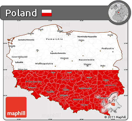 Free Flag Simple Map of Poland