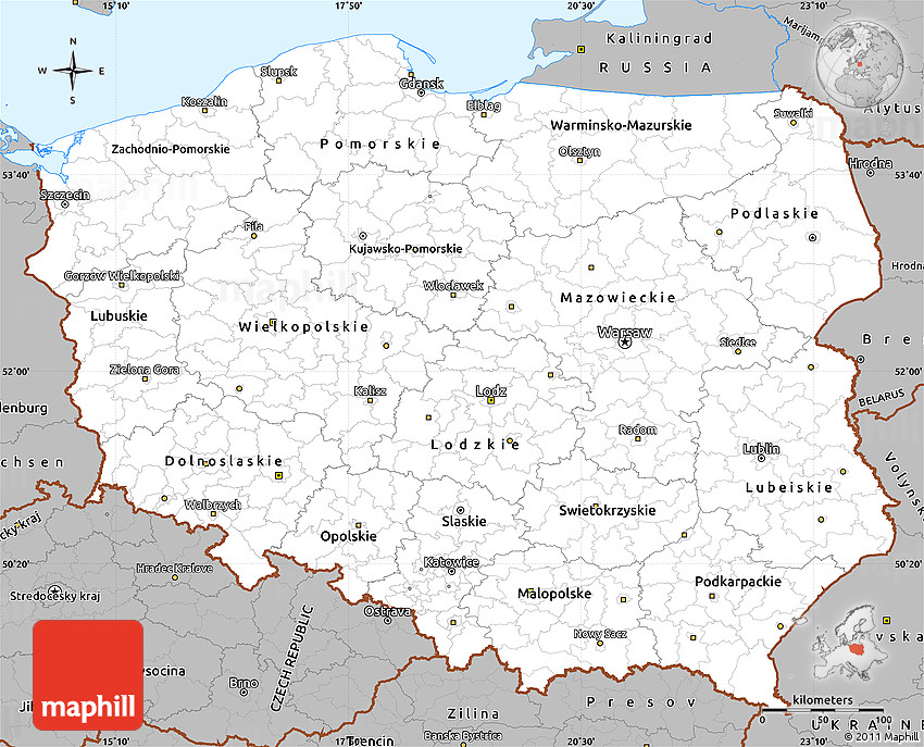 Gray Simple Map Of Poland