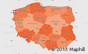 Political Shades Simple Map of Poland, cropped outside