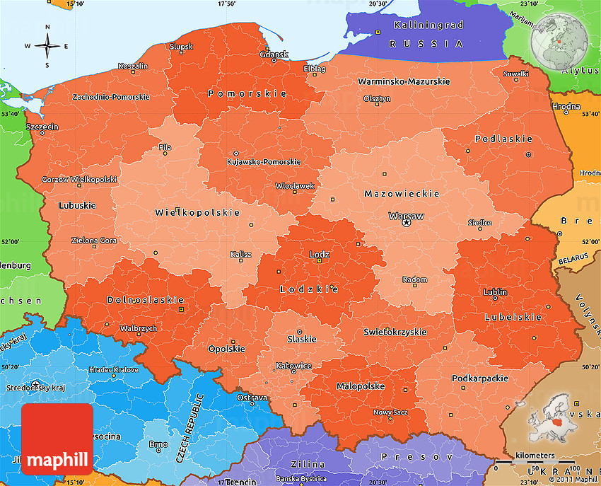 Political Shades Simple Map Of Poland - Poland political map