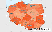 Political Shades Simple Map of Poland, single color outside